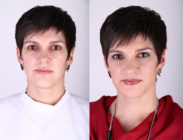Vorher-Nachher Vergleich einer Frau mit dunklen, kurzen Haaren und dunklen Augen.